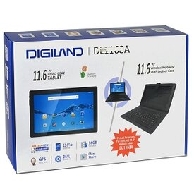 DigiLand DL1168A Quad-Core 1.3GHz 1GB 16GB 11.6 (1366x768) Multi-Touch IPS Tablet Android 5.1 w/Cams, Case & Keyboard