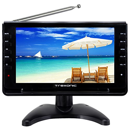Trexonic Portable Ultra Lightweight Rechargeable Widescreen 9 Lcd Tv With Sd Usb Headphone Jack Dual Av Inputs And Detachable Antenna