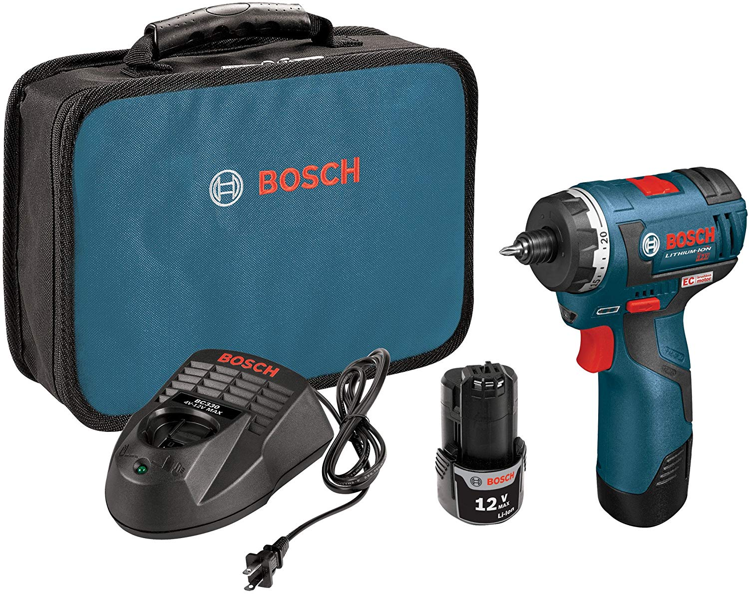 Bosch  12-volt Max Brushless Pocket Driver Kit With 2.0ah Batteries, Charger And Case